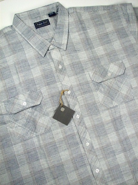 #143060. 2XL BIG. NAVY Retail $  55.00 Short Sleeve by INDYGO SMITH. 2-POCKET FLAP PLAID Whs A:  2