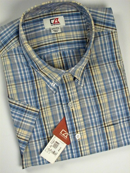 #107147. 4XL BIG. BLUE Retail $  98.00 Short Sleeve by CUTTER BUCK. LEARY PLAID Whs A:  1