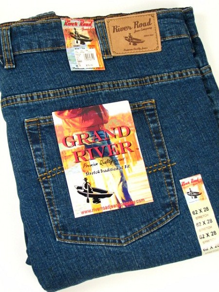#190996. 64 28. RINGSPUN Retail $  76.00 Cotton Jean by GRAND RIVER. TRADITIONAL FIT <font face=arial size=2><BR>Special Order Item.</font> <B>Item stocked by River Road.  Allow an extra 5 days for handling.</B>