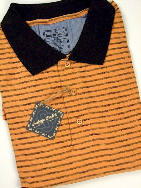 #085616. 2XL BIG. APRICOT Retail $  65.00 Short Sleeve by INDYGO SMITH. SPACE DYE STRIPE POLO Whs A:  2