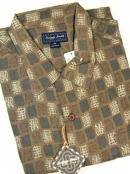 #191184. 3XL TALL. BROWN Retail $  72.00 Short Sleeve Tropical by INDYGO SMITH. GEOMETRIC PRINT Whs A:  1