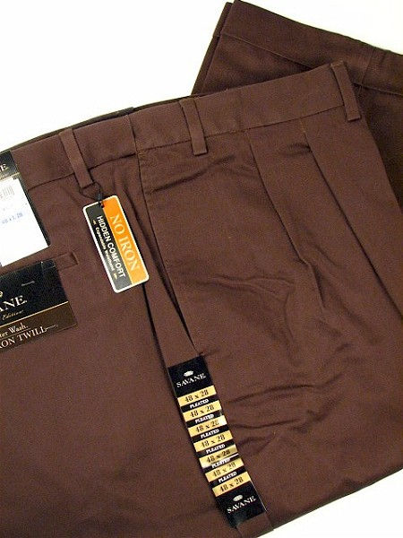 #084495. 48 28. ROOTBEER Retail $  72.00 Cotton Casual Pants by SAVANE. LUSTRE NO-IRON PLEAT Whs A:  1