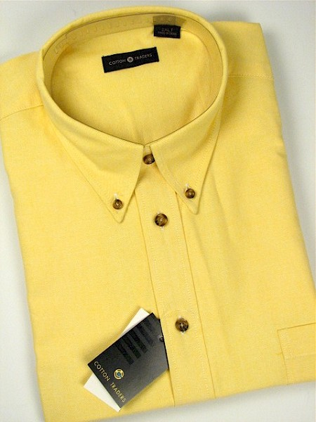 #104494. 2XL TALL. YELLOW Retail $  55.00 Long Sleeve Cotton by CTTON TRADERS. LONG SLV SOLID OXFORD