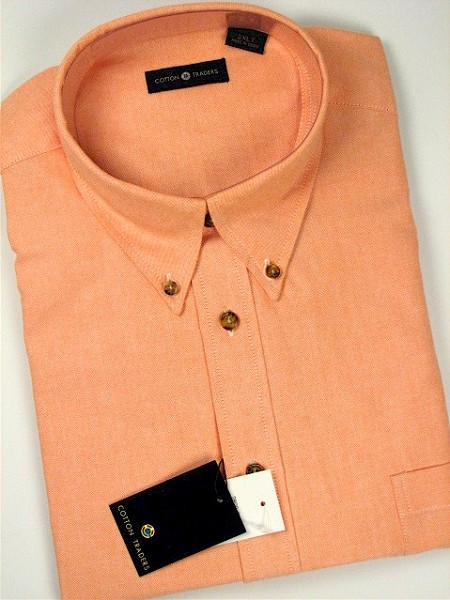 #082800. 5XL BIG. MELON Retail $  54.00 Short Sleeve by CTTON TRADERS. SOLID OXFORD B.D. FW:  1,