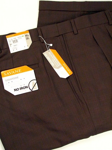#003294. 40 36. CHARCOAL Retail $  78.00 Dress Pants by SAVANE. PLEATED WINDOWPANE Whs A:  1