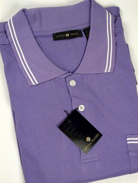 #035314. XL TALL. LILAC Retail $  45.00 Short Sleeve Pocket by CTTON TRADERS. INTERLOCK W/TIPPING Whs A:  4