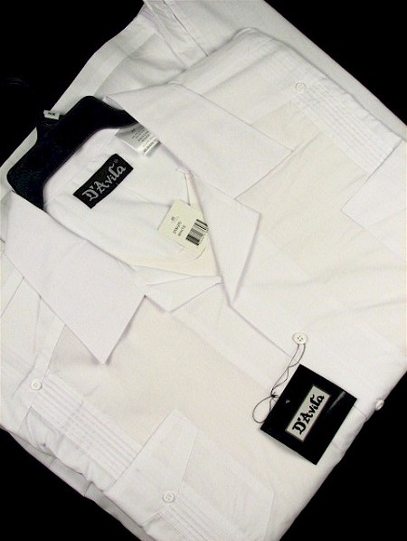 #061980. 6XL BIG. WHITE Retail $  45.00 Short Sleeve by D'AVILA. SOLID GUAYBERA Whs A:  1