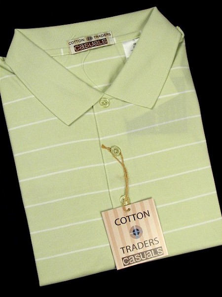 #164441. 4XL BIG. LIME Retail $  49.00 Short Sleeve Stay Dry by CTTON TRADERS. WICKING KNIT STRIPE Whs A:  1