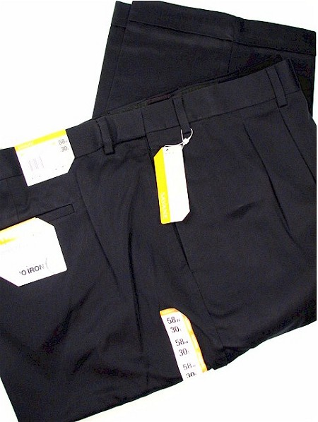 #169570. 60 32. NAVY Retail $  72.00 Cotton Casual Pants by SAVANE. PLEAT NO-IRON TWILL Whs A:  1