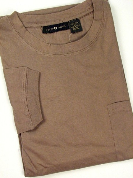 #176192. 4XL BIG. MOCHA Retail $  25.00 Long Sleeve Tee by CTTON TRADERS. POCKET TEE LONGSLV Whs A:  2