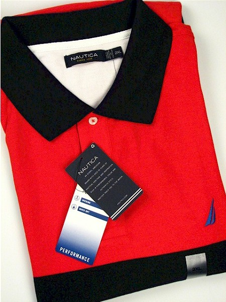 #084680. 2XL TALL. RED Retail $  75.00 Short Sleeve by NAUTICA. COLOR BLOCK PIQUE Whs A:  1