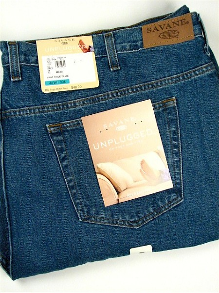 #087553. 46 30. BLUE Retail $  48.00 Cotton Jean by SAVANE. DENIM RELAXED FIT Whs A:  1