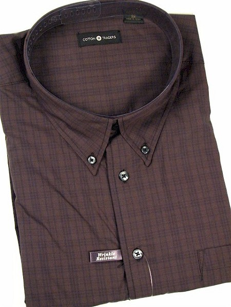 #053923. 5XL BIG. OLIVE Retail $  54.00 Long Sleeve Cotton by CTTON TRADERS. WRINKLE RESIST Whs A:  1