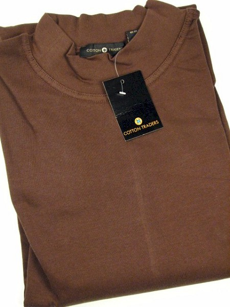 #125583. 3XL TALL. COFFEE Retail $  29.50 Long Sleeve by CTTON TRADERS. INTERLOCK MOCK SOLID Whs A:  1 FW:  1