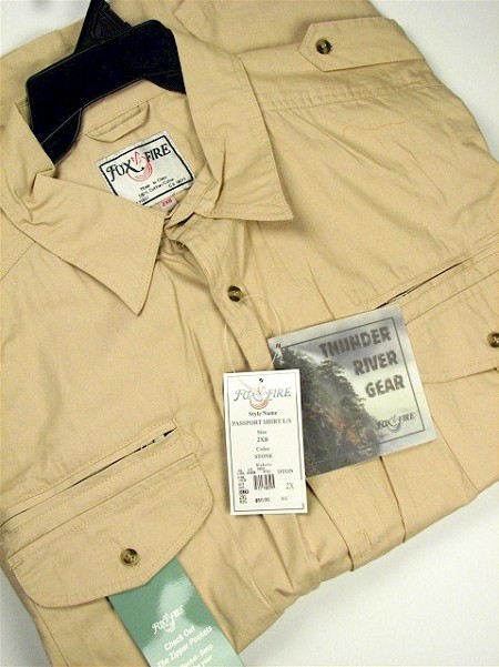 #100694. 4XL BIG. STONE Retail $  50.00 Long Sleeve Cotton by FOXFIRE. PASSPORT SAFARI SHIRT Whs A:  3
