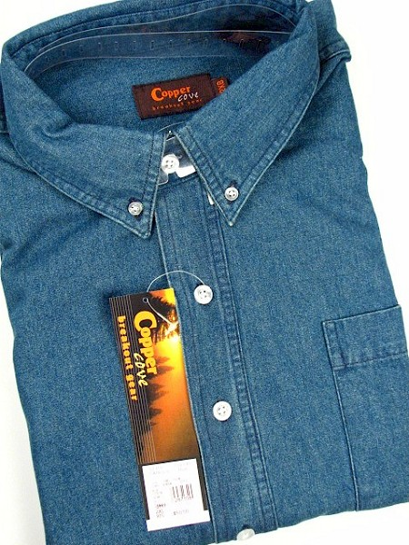 #118583. 5XL TALL. BLUE Retail $  55.00 Short Sleeve by COPPER COVE. 1-POCKET DENIM SOLID Whs A:  1