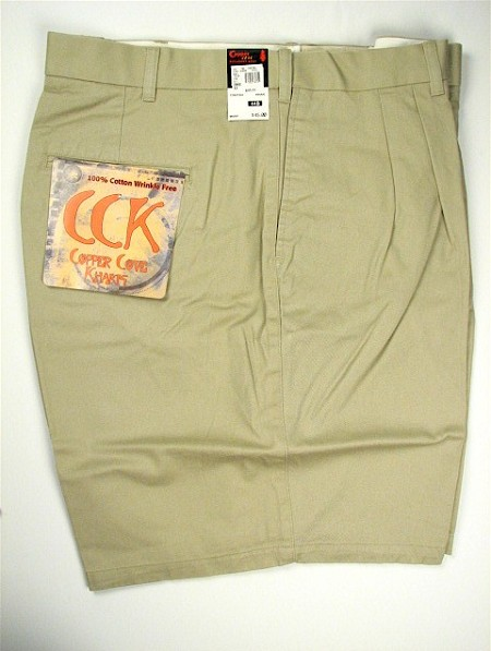 #113179. 56 . KHAKI Retail $  45.00 Shorts by COPPER COVE. PLEATED TWILL SHORT Whs A:  1