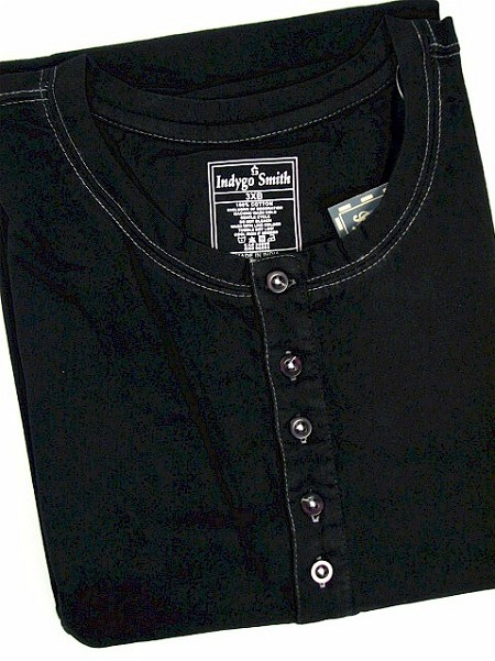 #023234. XL TALL. BLACK Retail $  48.00 Short Sleeve Henley by INDYGO SMITH. HENLEY JERSEY Whs A:  1