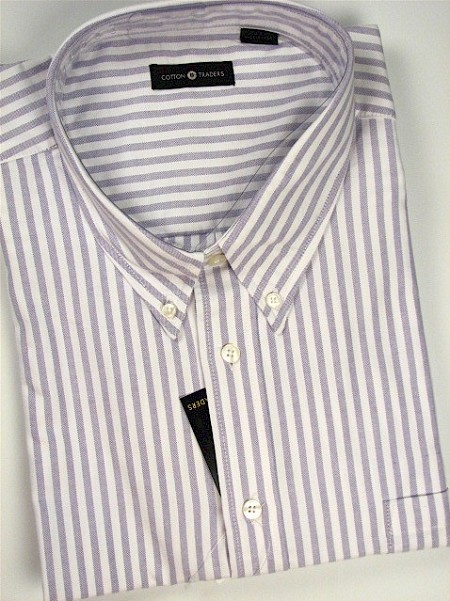 #045867. 3XL TALL. PLUM Retail $  48.00 Short Sleeve by CTTON TRADERS. CANDY STRIPE OXFORD Whs A:  1
