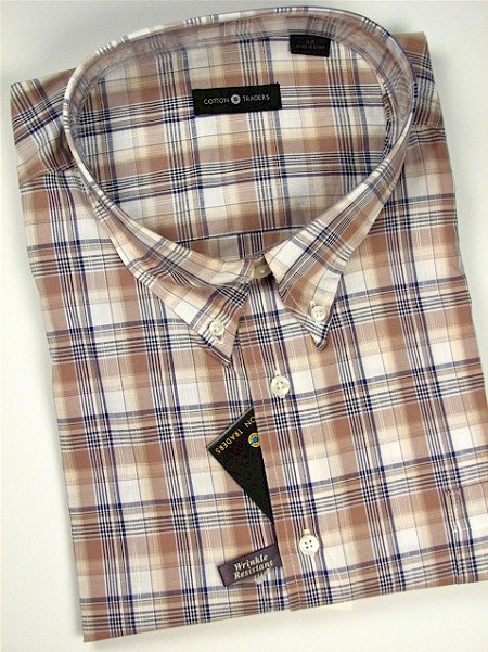 #115407. XL TALL. KHAKI Retail $  48.00 Short Sleeve by CTTON TRADERS. EASY CARE PLAID Whs A:  1