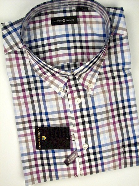#086303. 4XL BIG. PLUM Retail $  48.00 Short Sleeve by CTTON TRADERS. EASY CARE CHECK Whs A:  2