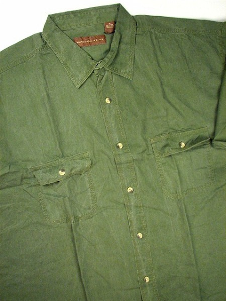 #027526. 2XL BIG. SAGE Retail $  48.00 Short Sleeve by WOOD LAND TRAIL. 2-POCKET ENZYME WASH Whs A:  5
