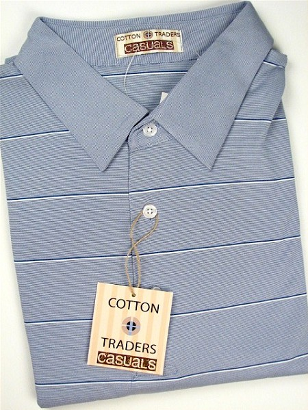 #099815. 2XL TALL. BLUE Retail $  48.00 Short Sleeve Stay Dry by CTTON TRADERS. PERFORMANCE STRIPE Whs A: 18