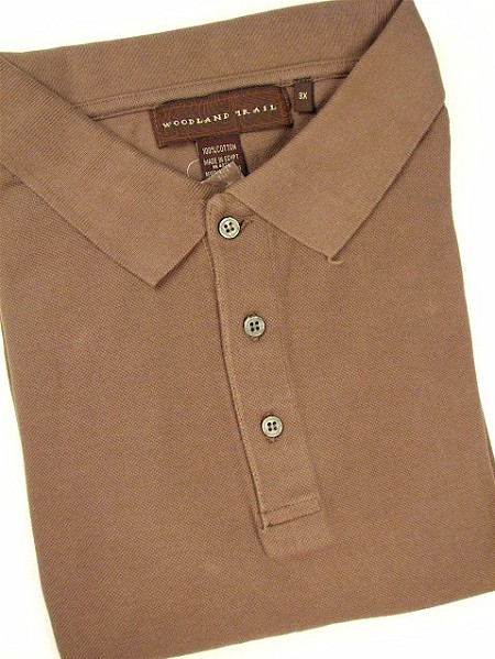 #115311. L TALL. KHAKI Retail $  45.00 Short Sleeve by WOOD LAND TRAIL. ENZYME WASHED PIQUE Whs A:  1