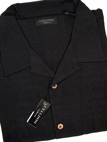 #019288. 3XL TALL. BLACK Retail $  69.00 Short Sleeve Updated by CELLINI. SOLID TEXTURED SILK Whs A:  4