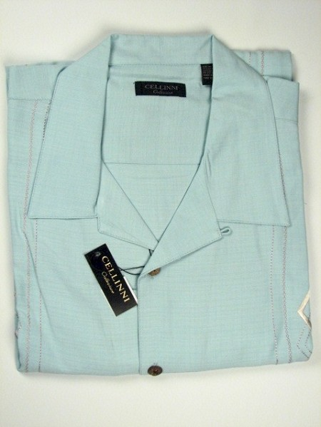 #106313. XL TALL. AQUA Retail $  74.00 Short Sleeve Updated by CELLINI. EMBROIDERED SILK CAMP Whs A:  2