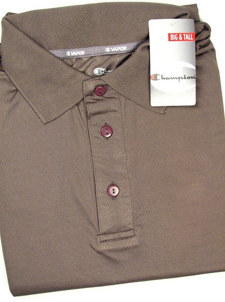 #120698. 3XL TALL. CHARCOAL Retail $  38.00 Dri Power Polo by CHAMPION. VAPOR DRY PERF POLO Whs A:  1